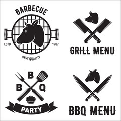 BBQ graphic flat emblems with grill forks spatulas sausage fire cap isolated vector illustration