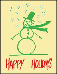 Cute Snowman Happy Holidays Greeting