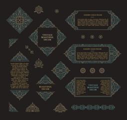 Arabic vector set of frames lines art design templates. Muslim gold outline elements and emblems