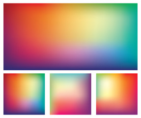 Set of blurred gradient mesh backgrounds in bright rainbow colors. Colorful smooth banner templates. Easy editable soft colored abstract vector illustration in eps8 without transparency.