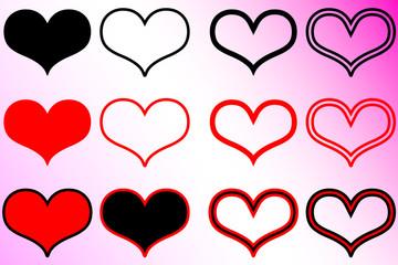 hearts set , Valentine heart,