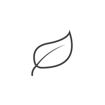 Leaf line icon, outline vector logo illustration, linear pictogram isolated on white