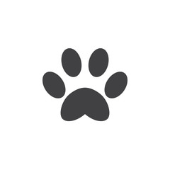 Paw icon vector, solid logo illustration, pictogram isolated on white
