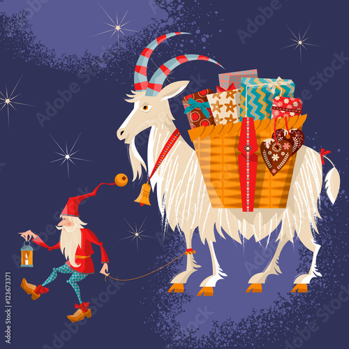 Finland Christmas Goat.Scandinavian Christmas Tradition Christmas Gnome And Yule