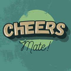 Cheers Comic Inscription. Vector Image.
