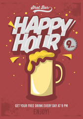 Happy Hour Poster  For Advertising. Beer Mug Illustration. Comic
