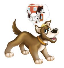 Cartoon happy dog - farm animal - isolated - illustration for children
