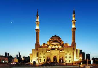 Mosque at sunrise in Sharjah, United Arab Emirates Wall mural