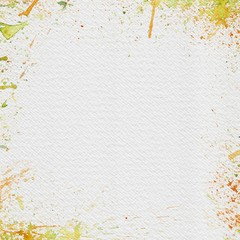 White Watercolor Paper with Bright Splashes
