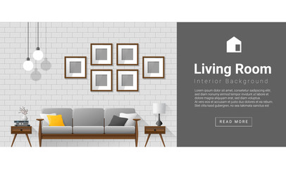 Interior design Modern living room background , vector, illustration
