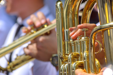Close up view of brass band