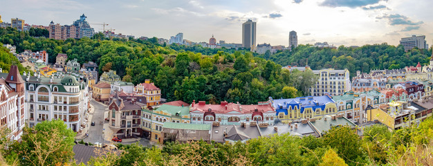 Foto auf Leinwand Kiew Views of modern and ancient buildings from the Castle hill or Zamkova Hora in Kiev, Ukraine. Castle hill is a historical landmark in the center of the city.