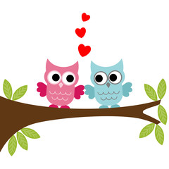 Vector illustration of a two owls couple in love