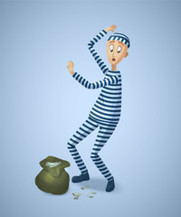 Prisoner captured with stolen money. Burglar with bag gives up. Thief cartoon character