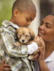 Young boy holding a puppy.