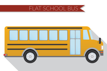 Flat design vector illustration city Transportation, school bus, side view