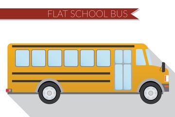 Flat design vector illustration city Transportation, school bus, side view