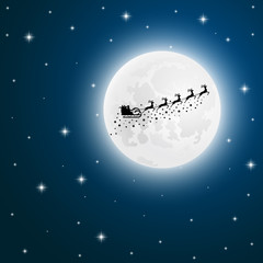 Santa Claus goes to sled reindeer of the moon