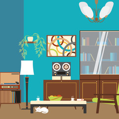 Living room interior with bookcase, table, armchair and players in the style of 70's vector illustration.