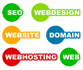 Tags, labels with web, web related words. Seo, webdesign, websit