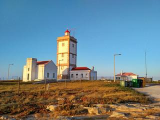 Peniche lighthouse near Cabo Carvoeiro in sunset light