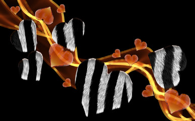 zebra furry gem hearts leading fire smoke wave isolated on dark background. Geometric rumpled triangular low poly style graphic 3d render illustration. Raster polygonal design for your business
