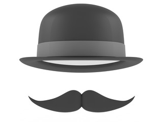 Bowler hat and mustaches on a white background. 3D rendering