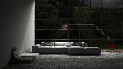 Living lounge night scene