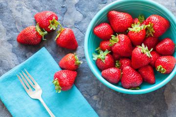bowl of summer strawberries