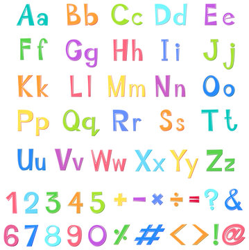 English alphabets and numbers in many colors