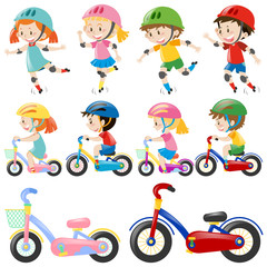 Boys and girls on bike