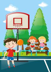 Many kids at basketball court
