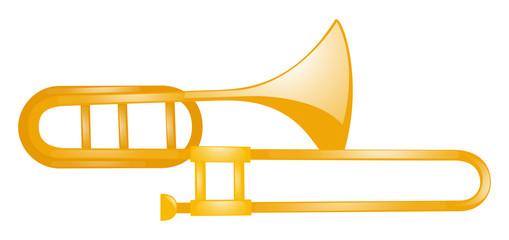 Golden trumbone on white background