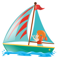 Little girl sailing on the sea