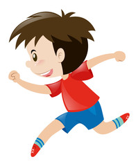 Little boy in red shirt running alone