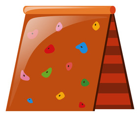 Climbing wall with colorful rocks