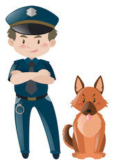 Policeman in uniform standing with dog