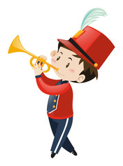 Boy in red band uniform with trumpet