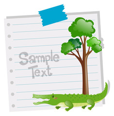 Paper template with crocodile and tree