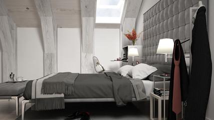 Loft minimal bedroom