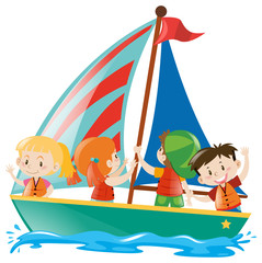 School kids riding on sailboat