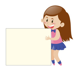 Little girl behind the blank sign
