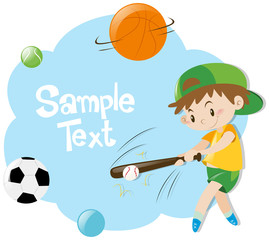Paper template with boy playing baseball