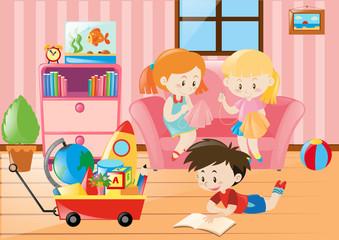 Children having fun in living room