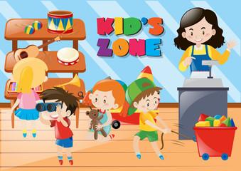 Children buying things in kids zone