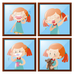 Girl in four different actions