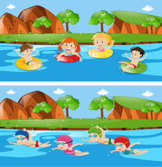 Two scenes with children in river