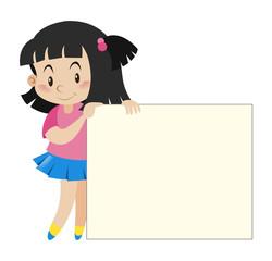 Black hair girl holding white paper