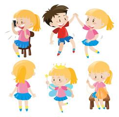 Girl and boy doing activities
