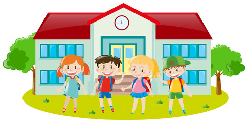 Four kids at school ground